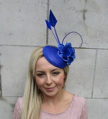 Royal Blue Rose Quill Flower Feather Pillbox Hat Fascinator Hair Clip Races 5610