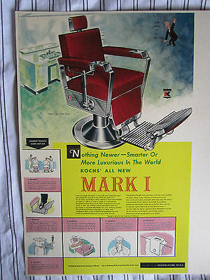 Rare 1954 Advertising Kochs Barber Chair MARK I Color Sign Ad Litho With Illusts