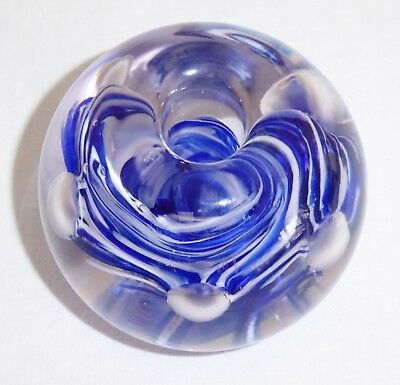 Vintage 60's Cobalt Blue & White Ribbon Art Glass Paperweight Controlled Bubbles