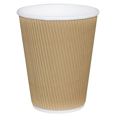 Fiesta Ripple Wall Takeaway Coffee Cups Kraft 225ml / 8oz - Pack of 25