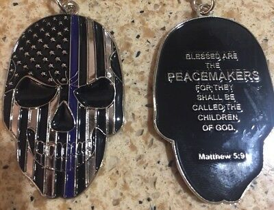 Thin Blue Line KeyChain Skull Police Tribute with Prayer US SELLER!