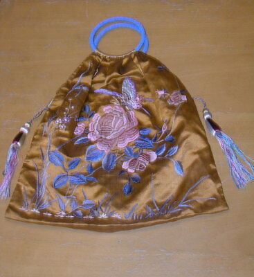 Antique Chinese Embroidered Purse Bag Flowers Butterfly Glass Beaded Handles