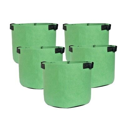 5-Pack Green Grow Bags Aeration Fabric Planter Root Growing Pots w/Handles