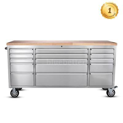 "THOR HTC7215W Large 72"" 15 Drawers Tool Chest Stainless Steel Rolling Tool G1X9"