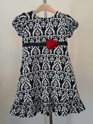 Hanna Andersson Black and White Lined Short Sleeve Dress Size 110 US 5 yr
