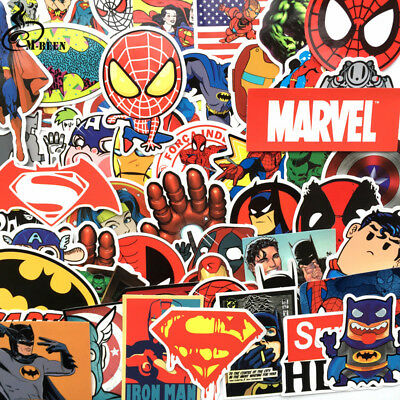 NEW 50 Pcs/Lot Stickers For MARVEL Super Hero DC For Car Laptop Notebook Decal