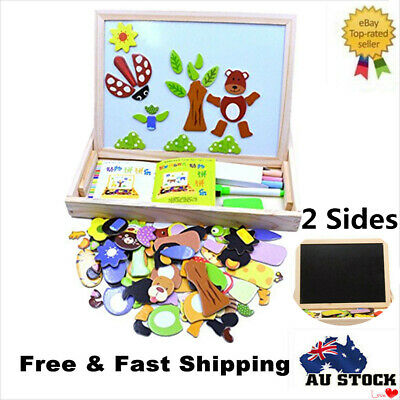 Educational Toys Kids Wooden Animal Puzzle Writing Magnetic Drawing Board