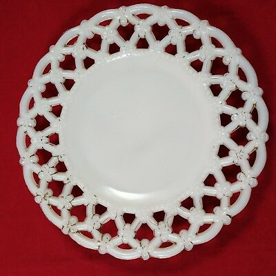 """Painted Milk Glass Triple Forget Me Not Gilded Border 7.25"""" Plate 90"""