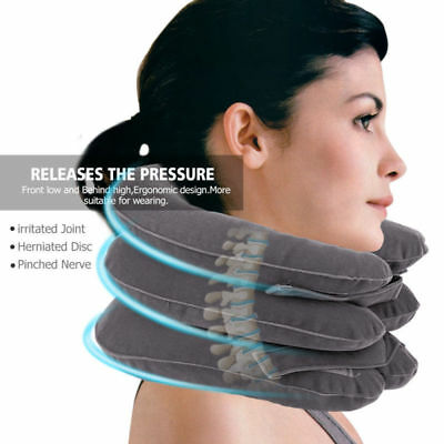 Inflatable Cervical Neck Traction Device for Neck Head Shoulder Pain Relief Gray