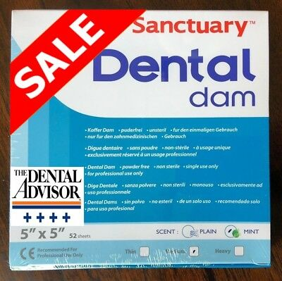 20 BOX 1040 SHEET Sanctuary Dental Rubber Dam Latex 5X5 Medium Mint Green ONSALE