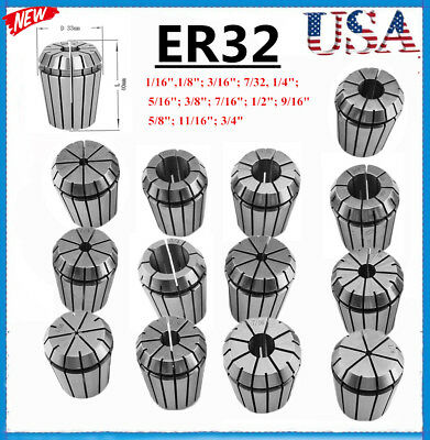 """ER32 Spring Chuck COLLET 13PC SET 1/16""""-3/4"""" Inch by 16th PRECISION NEW BP"""