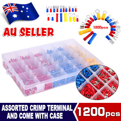 Electrical Wire Connector 1200pcs Assorted Insulated Crimp Terminals Spade Set
