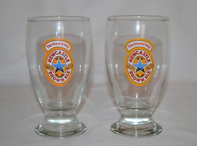 NEWCASTLE BROWN ALE SCHOONER BEER GLASS, ***The one and only*** Set of 2