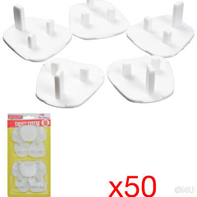 5 X 10Pc (50) Plug Socket Cover Electrical Safety Protector Covers Child Baby