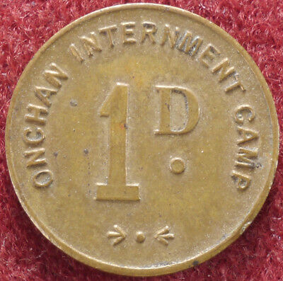 Isle of Man Onchan Internment Camp Penny 1d WWII POW Token ND 1941 (E2302)