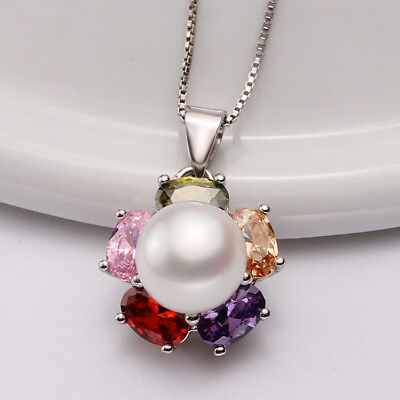 S925 Freshwater Pearl Flower Sterling Silver Necklace & Earrings UK SELLER
