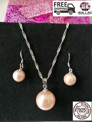 S925 Freshwater Pearl Sterling Silver Rose Necklace & Earrings SET