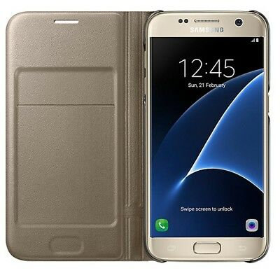 Genuine Official Samsung Galaxy S7 LED View Flip Booklet Cover Case – Gold