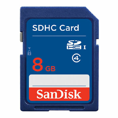 SanDisk 8GB SD Card SDHC MEMORY CARD Class 4 8 GB For Digital Cameras Blue
