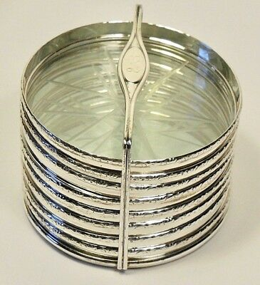 Vintage Lunt Sterling Silver & Glass  8-Coaster Stacked Set+Matching Caddy-Mono