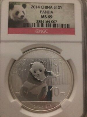 2014 NGC MS69 China 10Y Panda First Releases 1 oz .999 Silver Coin