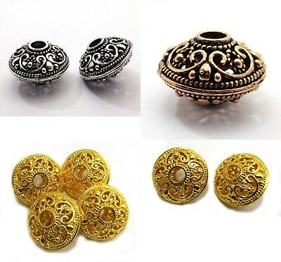 4 Pcs 21X14Mm Handmade Big Hole Bead Sterling Silver Plated 18K Gold Plated B354