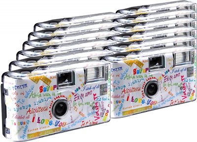 "TopShot ""I Love You"" Disposable Camera / Wedding Camera / 27 Photos with Flash,"