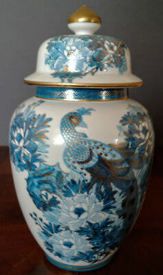 Anese Ïmari Ginger Jar W Lid Hand Decorated Pea Cobalt Blue Gold