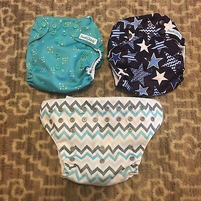 Lot Of 3 Mama Koala Diapers Stars Chevron One Size