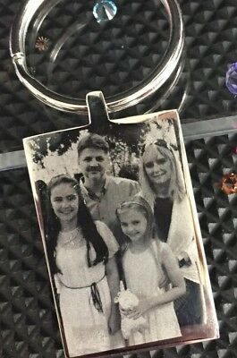 Personalised Engraved Photo & Text Keyring |Family|Sister Mum Daughter Love Gift