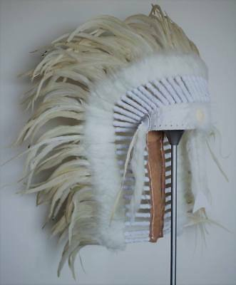 Native American inspired Medium Cream color Feather Headdress (36 inch long )