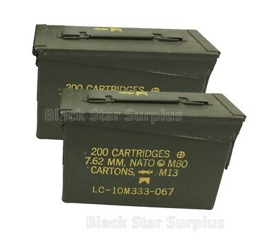 Two (2) US Military 30 Cal Ammo Cans, 11x4x7 M19A1, Empty