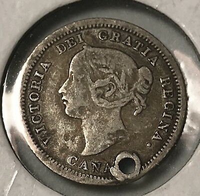 1858 Canada 5 cents silver world foreign coin poor holded condition