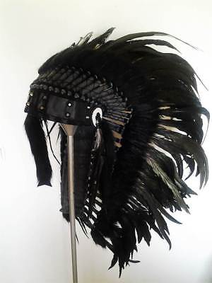 N83 - Native American inspired Medium black Feather Headdress 36 inch long