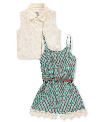 Beautees Girls' Belted Romper with Accessories