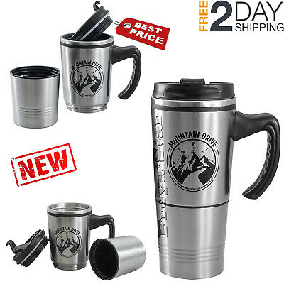 Coffee Travel Mug Hot Cold Drink Tea Cup Double Insulated Stainless Steel 12 oz