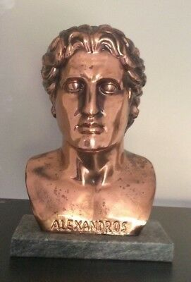 Bronze/Copper Cast BUST Alexander the Great ancient Greece Macedonia statue