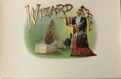 ANTIQUE CIRCA 1920's WIZARD CIGAR BOX LABEL EMBOSSED UNCUT NEVER USED BEAUTIFUL!