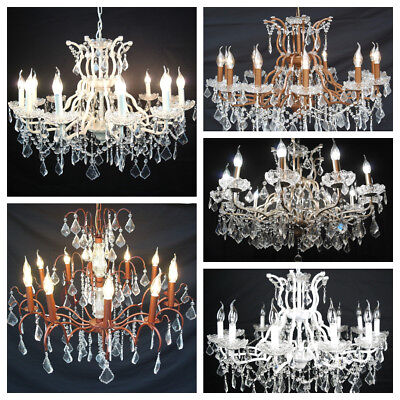 Large Antiqued Finish 12 Arm Branch French Style Shallow Cut Glass Chandelier