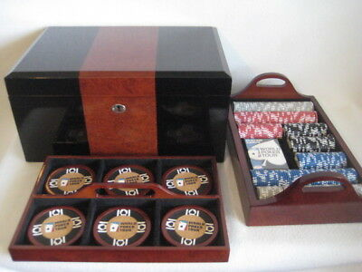 World Poker Tour Set With Large Heavy Mahogany Case Chips With 2 Trays Coasters