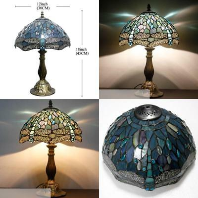 """Colored Dragonfly Cut Glass Lampshade Light 18"""" Tall Bronze Base Tiffany Style"""