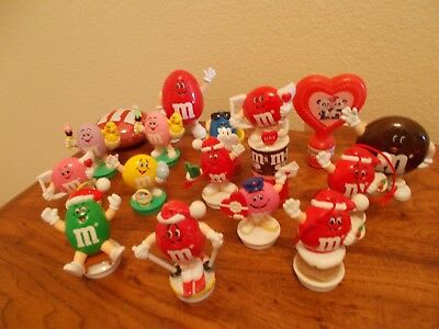 Lot of 15 M&M Candy Toppers-Dispensers-Tin Holiday