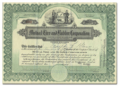 RARE Mutual Tire and Rubber Corporation Stock Certificate