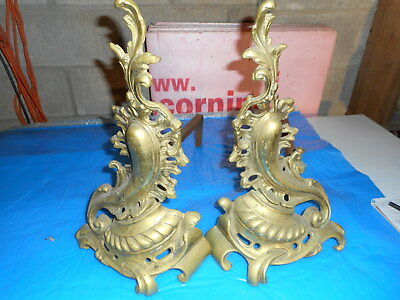 Antique Pair of Nice fancy Fireplace Andirons Maybe French design ????