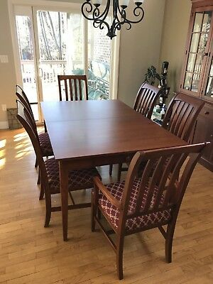 Ethan Allen American Impressions Dining Room Table 6 Chairs 2 Leaves Pad