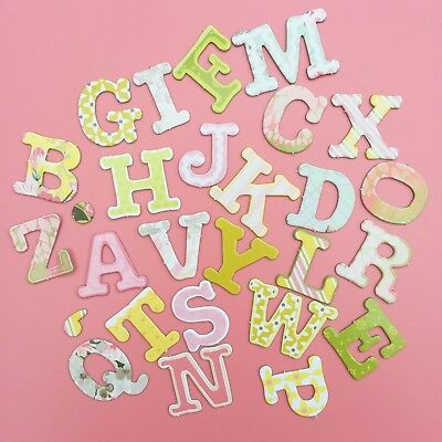 28 Vintage Spring Style Chipboard Alphabet Letters Cardmaking Craft Scrapbooking