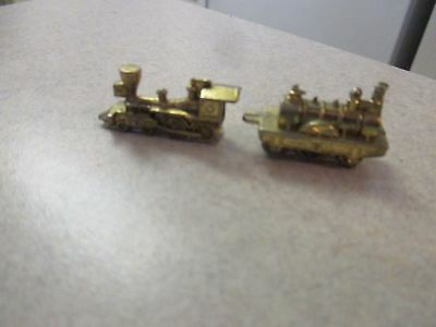 Miniature Small gold toned metal Train Engine Locomotive and car