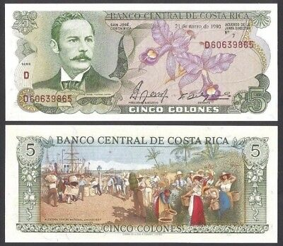 COSTA RICA 5 Colones, 1990, P-236e, UNC World Currency