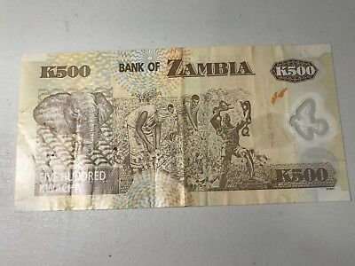 2009 Zambia 500 Kwacha world foreign paper money great condition