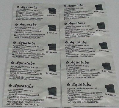 100 Aquatabs ® 67mg Water Purification Tablets 1 Tablet per 8-10 Litres Camping